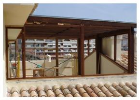 cerramientos de terrazas en madrid madera y aluminio